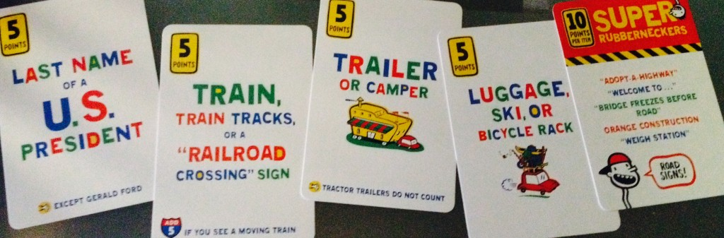 Some examples of the cards included in Rubberneckers.