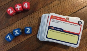 The red dice are for Ninja Recruits, while the blue dice are for Ninja Masters. I love that this game offers so much math practice and opportunity for differentiation!
