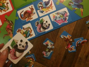 When a player draws the panda card, they get to select one piece to add to the panda puzzle.