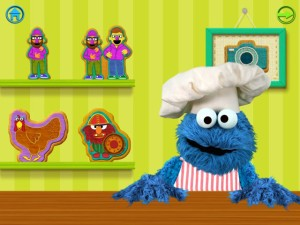 Cookie Monster waiting somewhat impatiently for you to serve him a cookie.